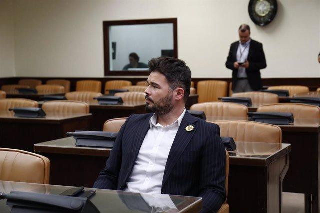 El portavoz de ERC en el Congreso de los Diputados, Gabriel Rufián, en el Congreso de los Diputados.