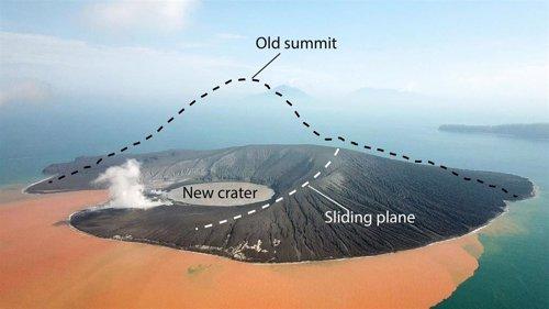 Imagen de Krakatoa dos semanas después del colapso. La cumbre de 320 metros de alto desapareció.