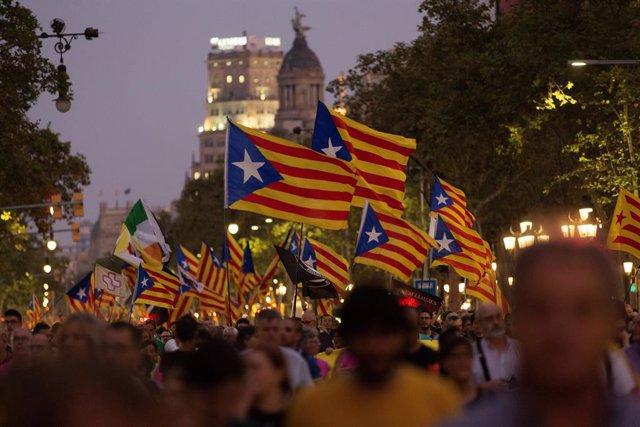 Manifestació per el 1-O a Barcelona