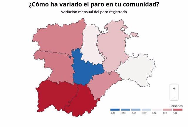 Mapa de elaboración propia sobre el comportamiento del paro en las nueve provincias de CyL en septiembre de 2019