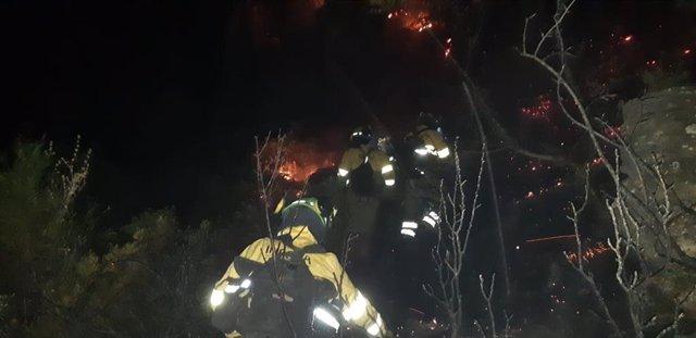 Efectivos del Plan Infoca trabajan contra el incendio forestal en Casares (Málaga)