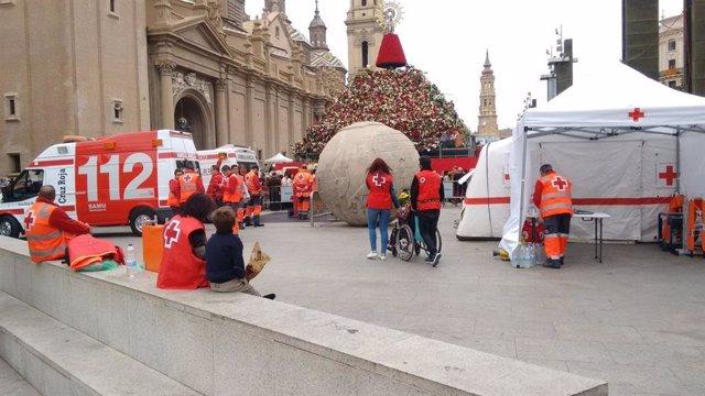 Operativo de Cruz Roja durante las Fiestas del Pilar de Zaragoza.