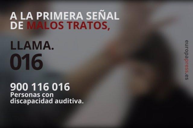 Teléfono 016 de atención a víctimas de violencia de género y maltrato.
