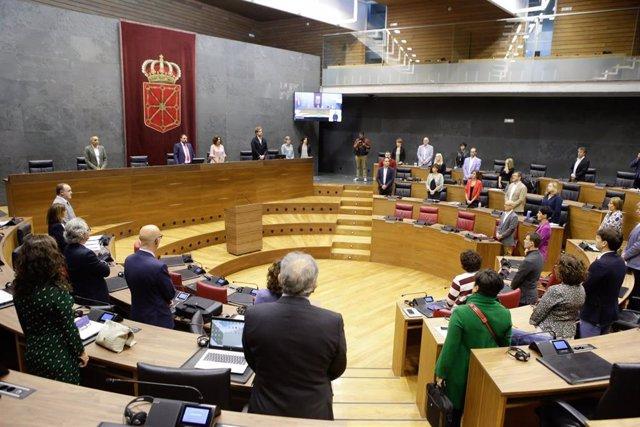 Imagen del inicio del pleno con un minuto de silencio.