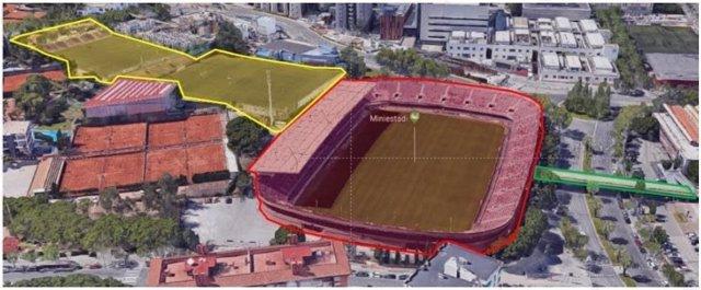 Els tres àmbits d'actuació del procés d'enderrocament, la Barça Escola i la passarel·la que connecta el Palau.