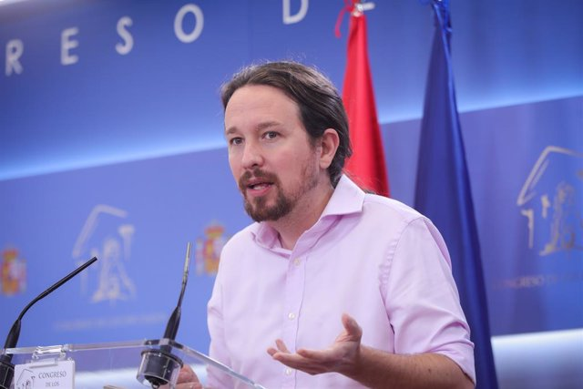 El líder d'Unides Podem, Pablo Iglesias, en roda de premsa després de la seva reunió amb el rei Felip VI en el segon dia de la ronda de consultes sobre el candidat a la presidncia del Govern, Madrid (Espanya), 17 de setembre del 2019.