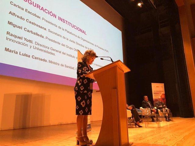 La ministra de Sanidad, María Luisa Carcedo, durante la inauguración del 'III Congreso de Organizaciones de Pacientes'