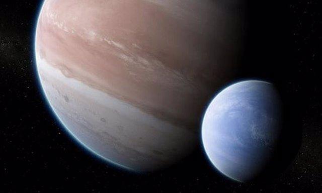 Recreación de Kepler-1625b y su posible luna gigante