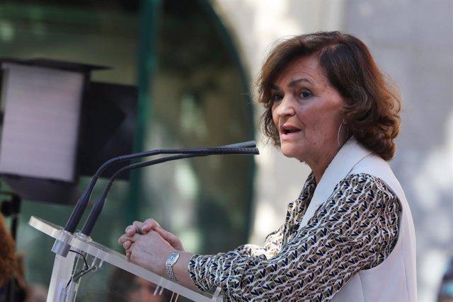 La vicepresidenta del Govern central, Carmen Calvo, en l'acte de clausura de l'aniversari dels 130 anys de la UGT a Madrid (Espanya).