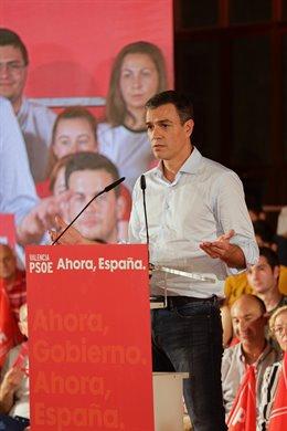 El president del Govern central en funcions, Pedro Sánchez en un acte de precampany del PSOE.