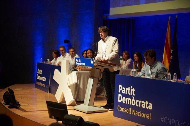 Carles Puigdemont, en un acto del PDeCAT