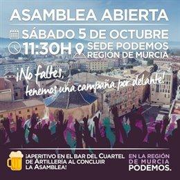 CARTEL ASAMBLEA ABIERTA PODEMOS REGIÓN DE MURCIA TRAS LA MARCHA DE URRALBURU Y GIMÉNEZ