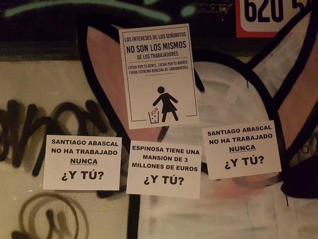 Carteles en Vistalegre contra el acto que Vox celebrará este fin de semana en Carabanchel.