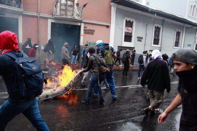 Protestas contra la reforma económica en Quito