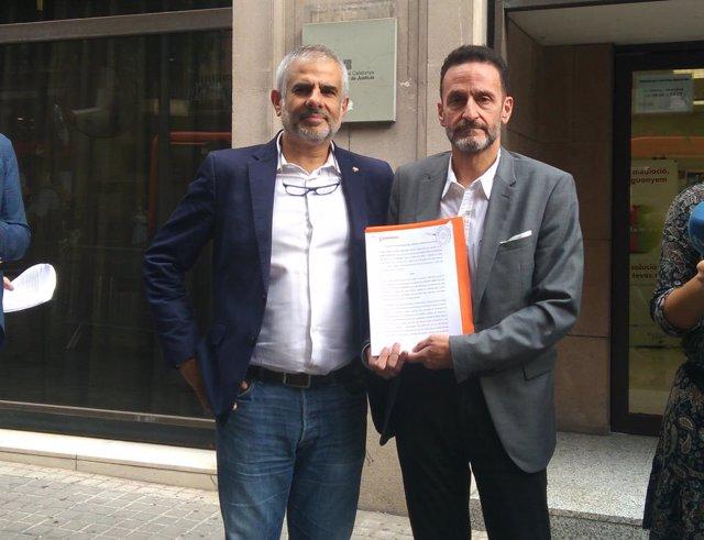 Edmundo Bal i Carlos Carrizosa (Cs) amb la denúncia contra Torra presentada a la Fiscalia del TSJC