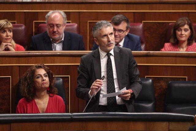 El ministre de l'Interior en funcions, Fernando Grande-Marlaska, al ple del Congrés
