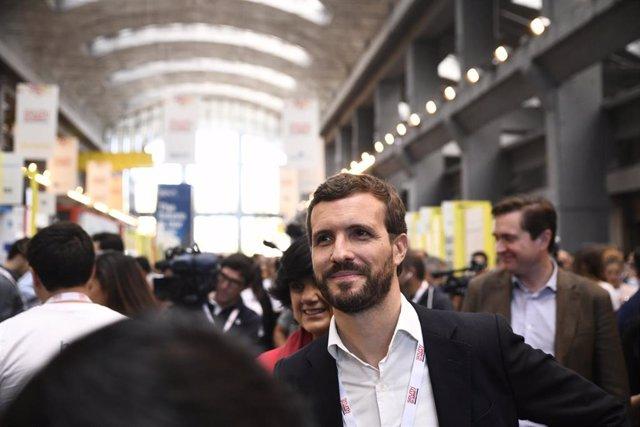 El presidente del PP, Pablo Casado, visita la plataforma global de innovación South Summit Madrid 2019, durante la primera jornada, en Madrid (España), a 2 de octubre de 2019.