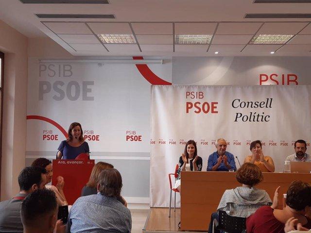 La secretaria general del PSIB-PSOE. Francina Armengol, interviene en el Consejo Político de la formación en Palma de Mallorca.