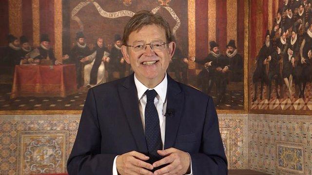 El president de la Generalitat Valenciana, Ximo Puig, en el mensaje del 9 d'Octubre