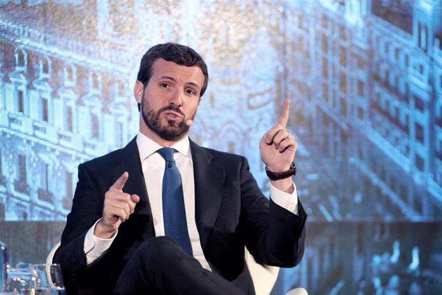 El presidente del PP, Pablo casado, durante su intervención en la segunda jornada del III Congreso bienal Iberoamericano para Presidentes de Compañías y Familias Empresarias, en Madrid (España), a 1 de octubre de 2019.