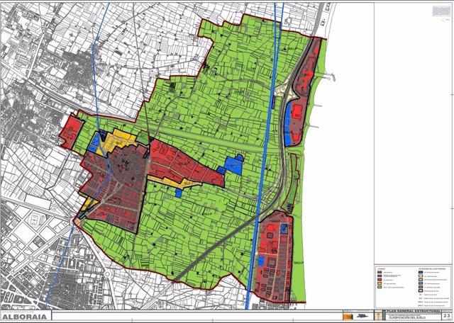 Plano de clasificación de suelos del Plan General Estructural de Alboraia