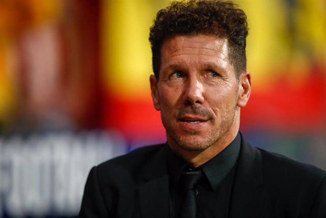Diego Pablo Simeone, coach of Atletico de Madrid, during the Spanish League (La Liga) football match played between Atletico de Madrid and Real Madrid at Wanda Metropolitano Stadium in Madrid, Spain, on September 28, 2019.