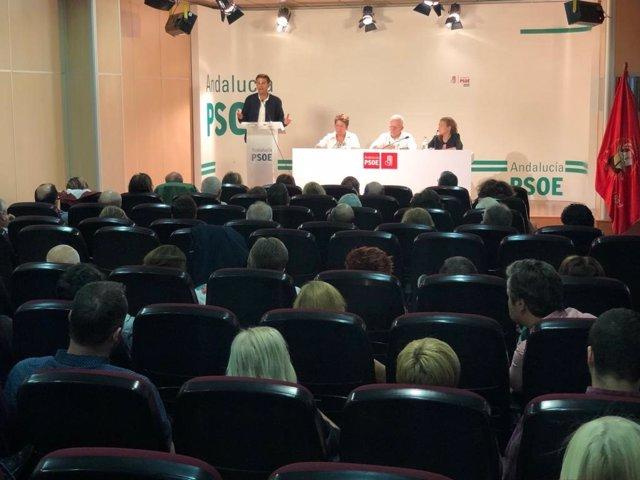 El secretario general del PSOE de Granada capital, Francisco Cuenca, interviene este sábado ante la asamblea extraordinaria celebrada para la elección del comité de campaña de las elecciones generales del 10 de noviembre.
