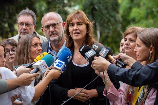 Laura Borràs atén als mitjans després del Consell Nacional del PDeCAT, al costat d'Eduard Pujol, Míriam Nogueras i Josep Lluís Cleries (JxCat)