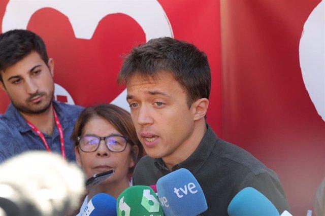 El líder de Más País, Íñigo Errejón, en una comparecencia ante los medios de comunicación