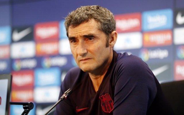 L'entrenador del FC Barcelona, Ernesto Valverde, en roda de premsa