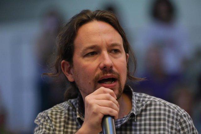 El secretario general de Unidas Podemos, Pablo Iglesias, interviene durante un acto de precampaña de Podemos, en Madrid (España) a 5 de octubre de 2019.