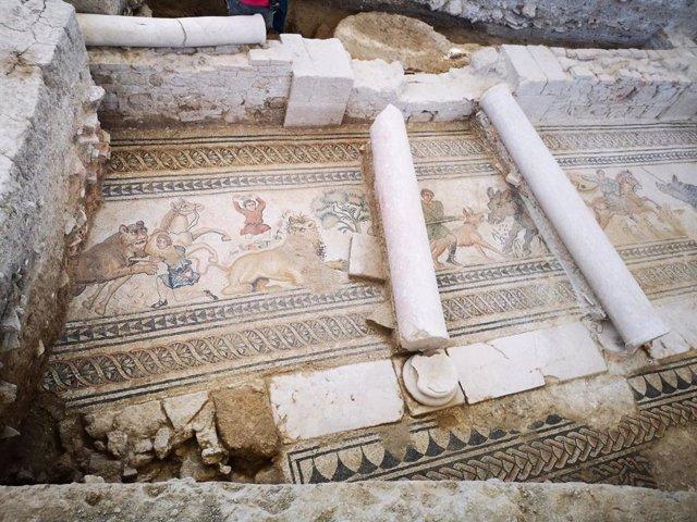 Mosaico descubierto en la Villa Romana de Salar