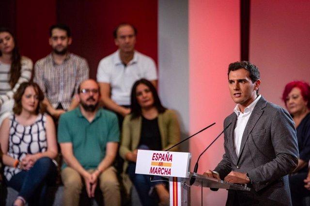 El líder de Ciudadanos, Albert Rivera, en un acto de precampaña en Madrid.