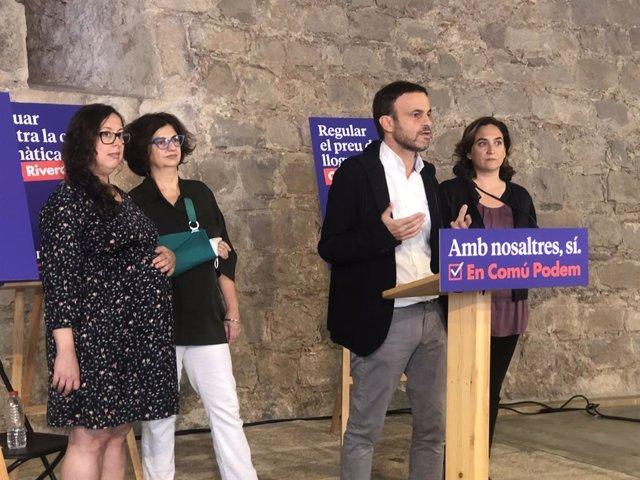 Noelia Bail, Rosa Lluch, Jaume Asens i Ada Colau.