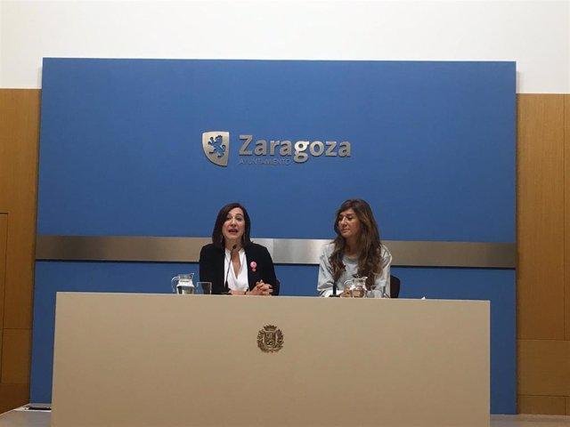 La vicealcaldesa y consejera de Cultura y Proyección Exterior, Sara Fernández, en una rueda de prensa para hacer balance de la primera jornada de las Fiestas del Pilar