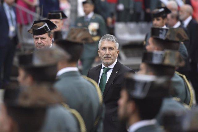 El ministro del Interior en funciones, Fernando Grande Marlaska, en Huesca