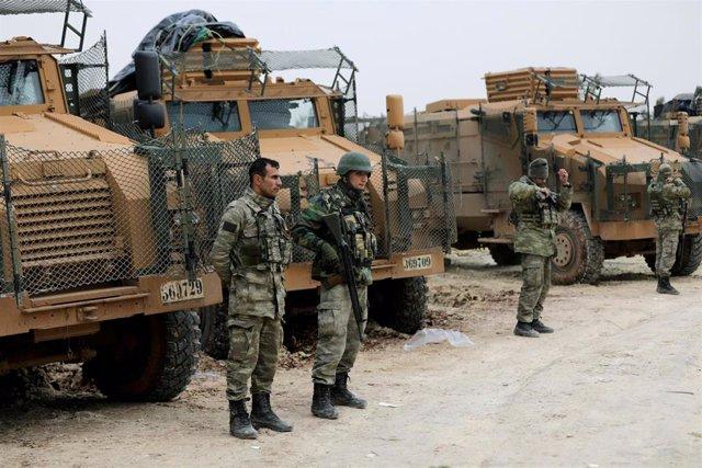 Soldados turcos en el norte de Siria.