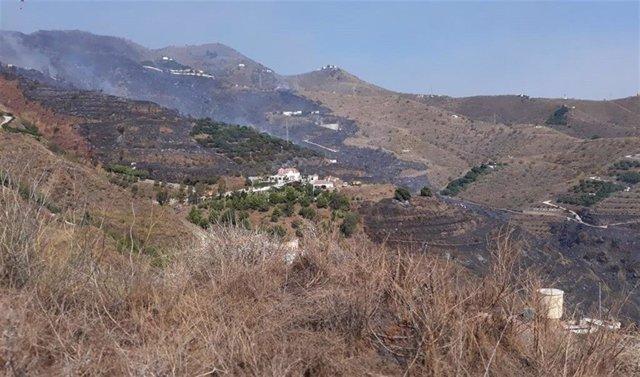 Zona del incendio en Almuñécar