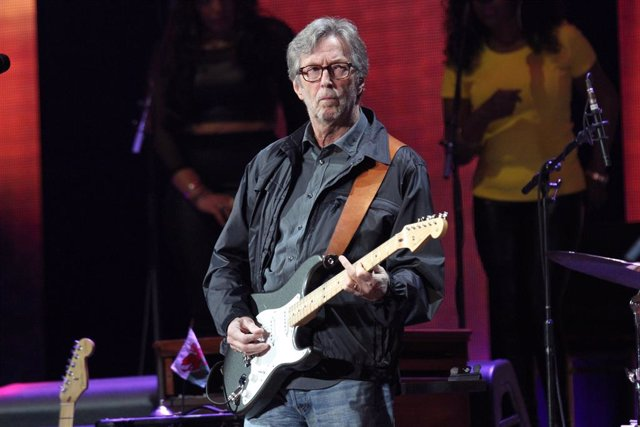 Eric Clapton on stage at the Crossroads Guitar Festival at Madison Square Garden in New York City.