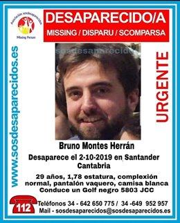 Cartel de desaparecido Bruno Montes