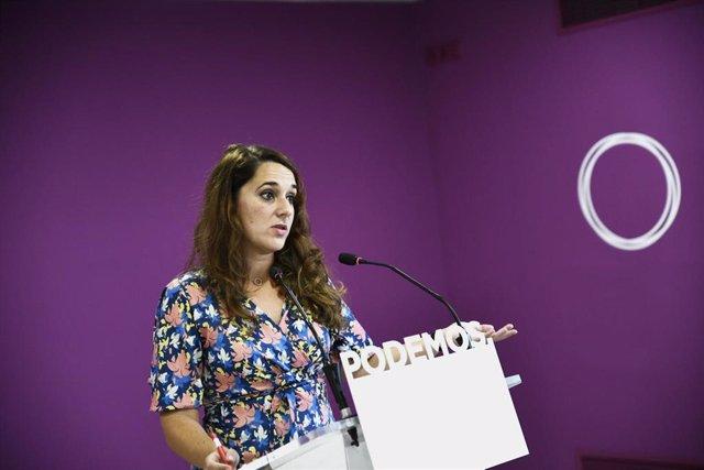 La portavoz de Podemos, Noelia Vera, durante una rueda de prensa ofrecida tras el Consejo de Coordinación del partido en Madrid, a 16 de septiembre de 2019.