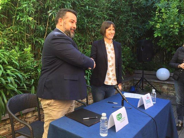La portavoz nacional del BNG, Ana Pontón, y el secretario xeral de Compromiso por Galicia, Juan Carlos Piñeiro.