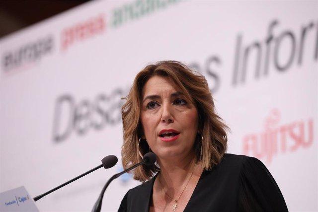 La secretaria general del PSOE-A, Susana Díaz, en el desayuno informativo de Europa Press Andalucía.
