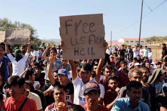 Protesta de refugiados de Moria (Lesbos)