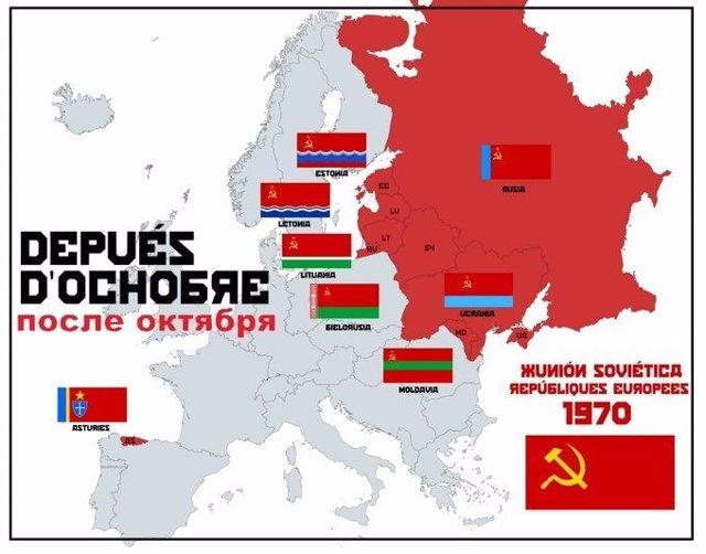 Mapa d'Asturies como parte de la URSS.