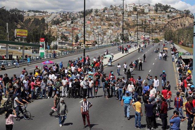 Protestas en Ecuador por la reforma económica del presidente Lenín Moreno.