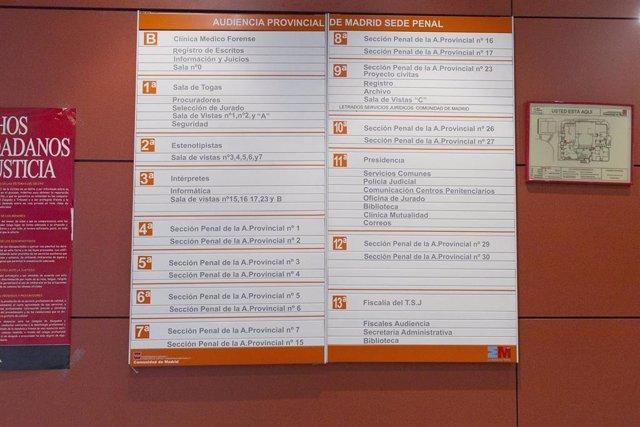 Audiencia Provincial de Madrid, sede penal, sección penal, tablero de informaciòn de juicios, juicio, fiscalia del TSJ, justicia