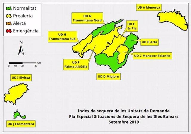 Mapa de índices de sequía en Baleares.