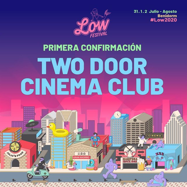 Cartel anunciador del Low Festival con Two Door Cinema Club ya confirmados para el verano de 2020.
