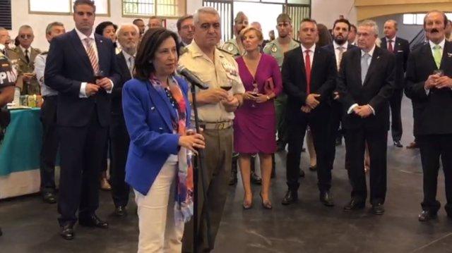 La ministra de Defensa en funcions, Margarita Robles, en l'acte del 99 aniversari de la Legió a Viator (Almeria)